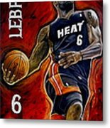 Lebron James Oil Painting-original Metal Print by Dan Troyer