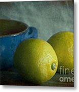 Lemons And Blue Terracotta Pot Metal Print
