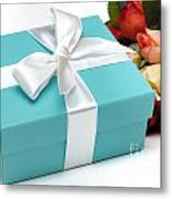 Little Blue Gift Box And Flowers Metal Print by Amy Cicconi