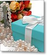 Little Blue Gift Box With Pearls And Flowers Metal Print by Amy Cicconi