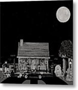 Log Cabin Ocean View With The Old Vintage Classic 1938 Mercedes Benz 770k Pullman Convertible In B/w Metal Print by Leslie Crotty