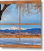 Longs Peak Across The Lake Barn Wood Picture Window Frame View Metal Print by James BO  Insogna