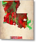 Louisiana Watercolor Map Metal Print by Naxart Studio
