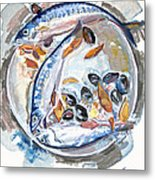 Mackerel Mussels Leaves Metal Print by Grace Keown