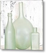 Made In India Sea Glass Bottles Metal Print by Marsha Heiken