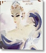 Mademoiselle Cover Featuring A Woman In A Gown Metal Print by Helen Jameson Hall