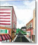 Main St. Is White-washed Windows And Vacant Stores Metal Print