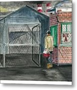 Man Takes His Lunch Walks Out In The Morning Light Metal Print by Jeremiah Iannacci