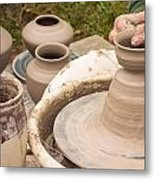 Master Potter Shaping Clay Metal Print by Dancasan Photography