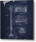 Mccarty Gibson Les Paul Guitar Patent Drawing From 1955 - Navy Blue Metal Print