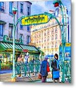 Metropolitain - Parisian Subway Street Scene Metal Print