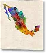 Mexico Watercolor Map Metal Print