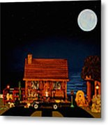 Log Cabin With 1938 Mercedes Benz 770k Pullman Convertible In Color Metal Print by Leslie Crotty