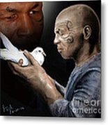 Mike Tyson And Pigeon II Metal Print by Jim Fitzpatrick