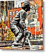 Montreal Hockey Lady Metal Print