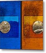 Moons On Blue And Gold Metal Print