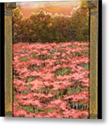 Morning Poppy Fields With Gold Leaf By Vic Mastis Metal Print by Vic  Mastis