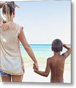 Mother And Son At Beach Metal Print by Kicka Witte