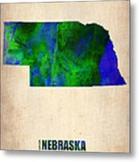 Nebraska Watercolor Map Metal Print