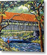 New England Covered Bridge By Prankearts Metal Print by Richard T Pranke