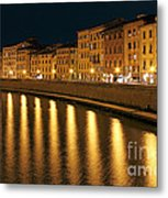 Night View Of River Arno Bank In Pisa Metal Print