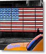 Nyc Cab Yellow Times Square Metal Print by John Farnan