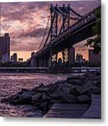 Nyc- Manhatten Bridge At Night Metal Print by Hannes Cmarits