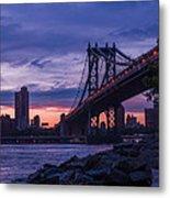 Nyc - Manhatten Bridge At Night II Metal Print by Hannes Cmarits