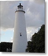 Ocracoke Lighthouse In The Clouds Metal Print by Tammy Wallace