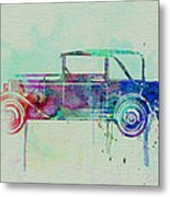 Old Car Watercolor Metal Print