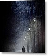 Old Man Walking On Snowy Winter Path At Night Metal Print by Sandra Cunningham