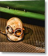Old Racing Helmet Metal Print