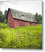 Old Red Barn In A Field - Rustic Landscapes Metal Print