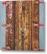 Old Wood Door With Six Red Hinges Metal Print by James BO  Insogna