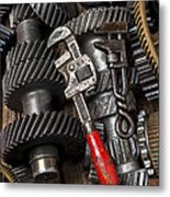 Old Wrenches On Gears Metal Print by Garry Gay