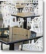 Outdoor Cafe Tables Metal Print by Oscar Gutierrez