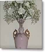 Pale Vase White Flowers Metal Print by Good Taste Art
