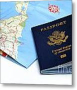 Passport And Map Of Bermuda Metal Print