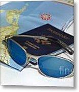 Passport Sunglasses And Map Metal Print