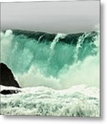 Pebble Beach Crashing Wave Metal Print