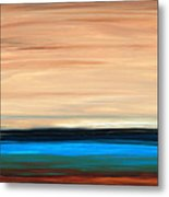 Perfect Calm - Abstract Earth Tone Landscape Blue Metal Print