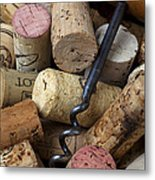Pile Of Wine Corks With Corkscrew Metal Print