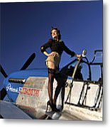 Pin-up Girl Standing On The Wing Metal Print
