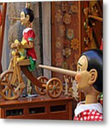Pinocchio Inviting Tourists In Souvenirs Shop Metal Print