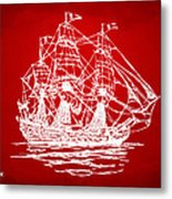 Pirate Ship Artwork - Red Metal Print