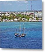 Pirate Ship In Cozumel Metal Print