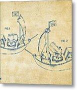 Pirate Ship Patent Artwork - Vintage Metal Print by Nikki Marie Smith