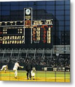 Pitching To A Hitter In Old Yankee Stadium Metal Print by Retro Images Archive