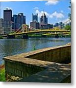 Pittsburgh Pennsylvania Skyline And Bridges As Seen From The North Shore Metal Print by Amy Cicconi