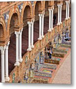 Plaza De Espana Colonnade In Seville Metal Print